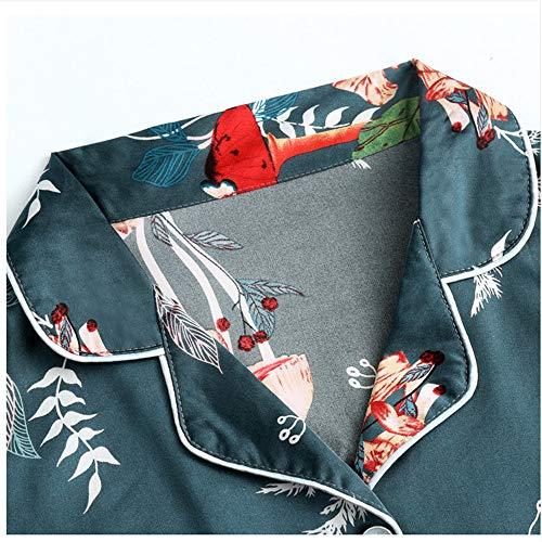 Pantaloni Set Stampa Di Salotto Pigiama Color Photo Meaeo Di Vita Seta Pezzi Seta Pantaloncini Elastici Elegante Manica Seta 7 Lunga In Donna Egq0UOw