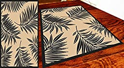 Homemusthaves Huge Blowout Sale Indoor Outdoor Rug Modern Mold Resistance Cream Black (5X7)