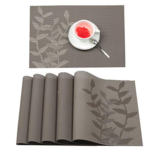 (Furnily Placemats Set of 6 Heat-resistant PVC Placemats for Dining Table Leaf Woven Vinyl Stain Resistant Washable Table Mats (6, Brown))