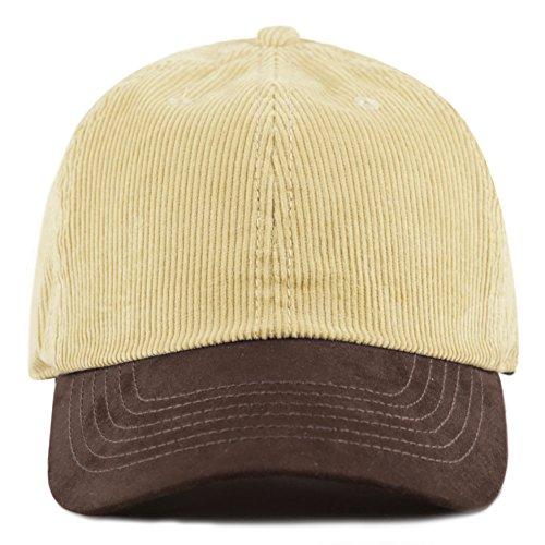 The Hat Depot Cotton Corduroy Suede Visor Adjustable Unstructured Soft Plain Cap (Sand/Brown)