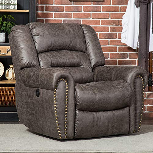 ANJ Electric Recliner Chair W/Breathable Bonded Leather, Classic Single Sofa Home Theater Recliner Seating W/USB Port-D9878, Smoky Gray