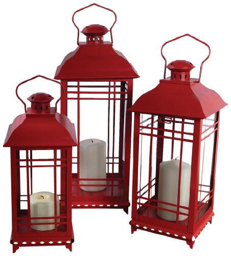(Melrose International Metal and Glass Lantern, Red, Set of)