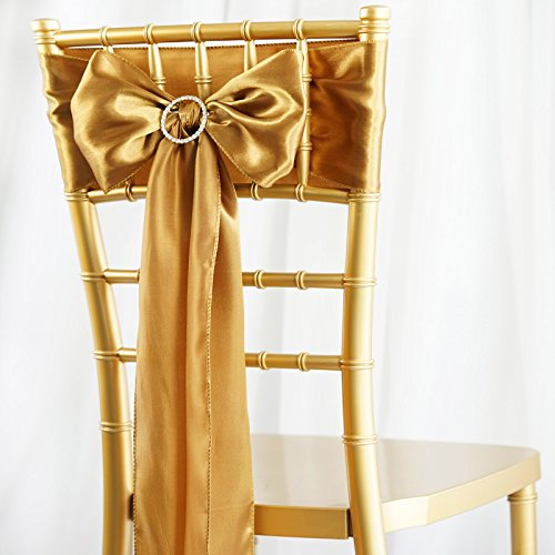 BalsaCircle 50 Antique Gold Satin Chair Sashes Bows Ties for Wedding Party Ceremony Reception Event Decorations Supplies Cheap (Gold Chair Ties)