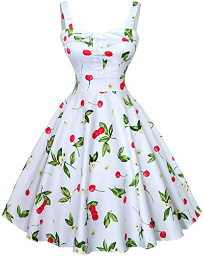 ZAFUL 1950s Vintage Rockabilly Floral Sleeveless Swing Casual Cocktail Party Dress (M, White)