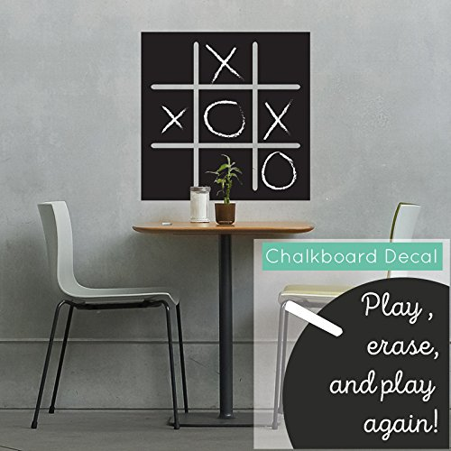 Tic Tac Toe Chalkboard - Vinyl Wall Art Decal for Homes, Offices, Kids Rooms, Nurseries, Schools, High Schools, Colleges, Universities