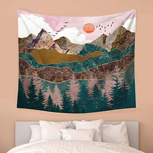 Nidoul Mountain Wall Tapestry|Nature Landscape Tapestry Wall Hanging|Hippie Sunset Forest Tree Tapestry|Wall Art Decoration for Bedroom Living Room Dorm, 59