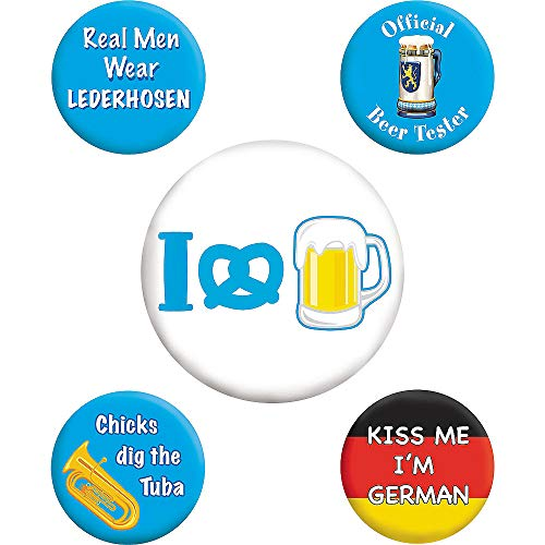 (2X Pack) Oktoberfest Buttons 5xpcs | Holiday, Event & Party Supplies