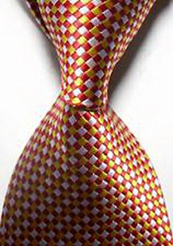MINDoNG Necktie Pattern White Red Dots Flower JACQUARD WOVEN Men's Tie GAG # 33340