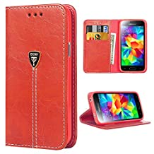 S5 Neo Case Wallet S5 NEO Phone Case S5 Protective Case Slim Fit Magnetic Flip Leather Case for Samsung S5 NEO - Red
