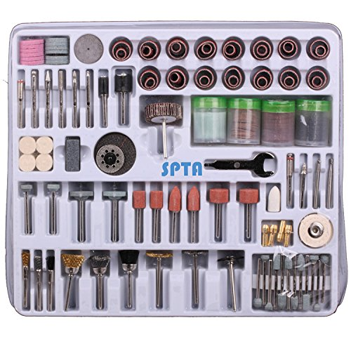 SPTA 216 Pcs Rotary Tool Accessory Set with 3mm Shank- For Proxxon Dremel Rotary Tools- Cutting, Grinding, Sanding, Sharpening, Carving&Polishing (Power Tool Accessory Set)