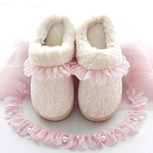 Eastlion Women's Lovely Winter Keep Warm Anti-Skid Lace Plush Home Indoor Shoes,Short Boots,Sippers with and Full Feet Covering Green
