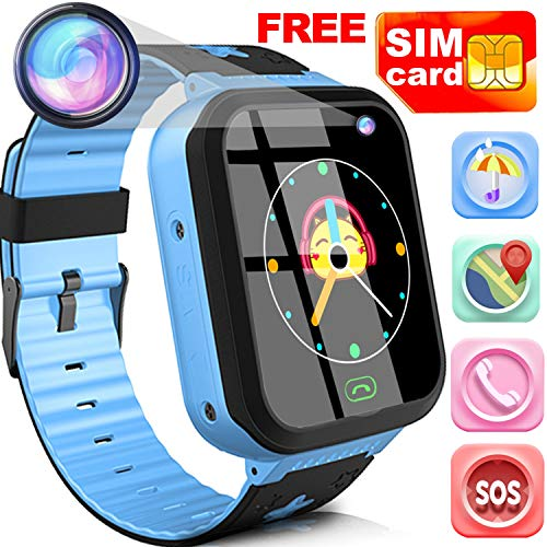 Kids Smart Watch Phone with Free SIM Card Outdoor Waterproof Activity GPS Tracker Sport watch for 3-14 Girl Boy 1.44' Touch Screen SOS 2 Way Call Camera Alarm Clock Anti-Lost Voice Chat Smart Bracelet