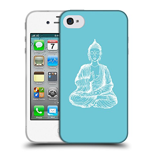 GoGoMobile Coque de Protection TPU Silicone Case pour // Q10000627 Bouddha assis 11 Cyan // Apple iPhone 4 4S 4G