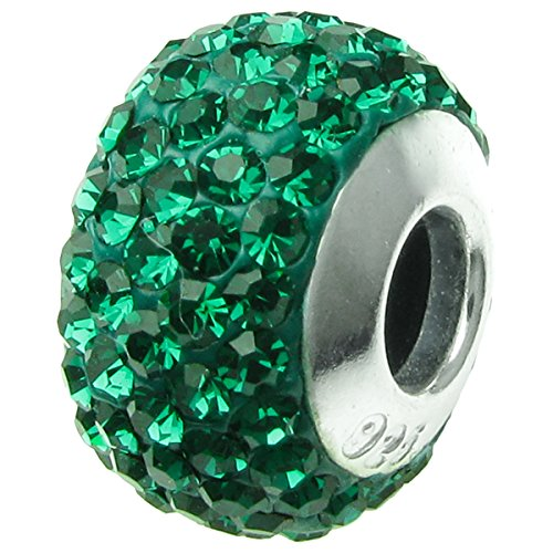 Dreambell 925 Sterling Silver Round Birthday May Green Crystal Bead For European Charm Bracelets