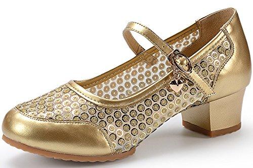 Sequins Shoes Latin Dance Shoes Ladies Jazz Shoes Gold VECJUNIA Sole Soft X5YWI