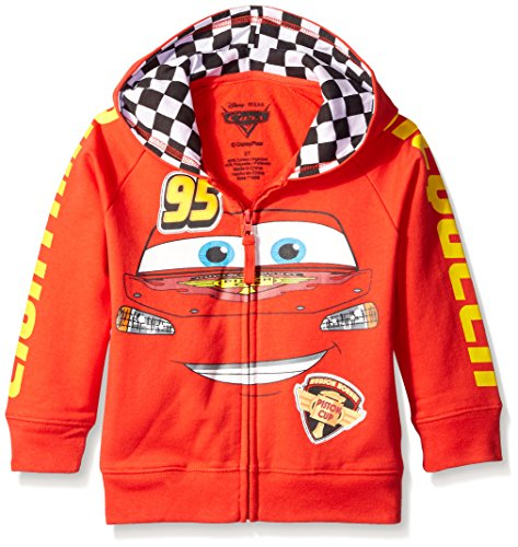 Disney Little Boys' Toddler Cars '95 Hoodie, Red,