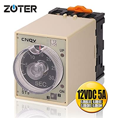 Time Relay, ZOTER Timer On Off Delay Electric DC 12V Four Time Ranges 0.05s ~ 3min with Base Socket