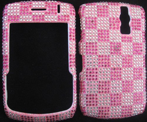 Diva Sparkling Pink Argyle Checker Full Diamond Rhinestones Bling Design - Snap On Hard Cover Protector Faceplate Case for Blackberry Curve 8300 8310 8320 (8330 Faceplate Cover Case)