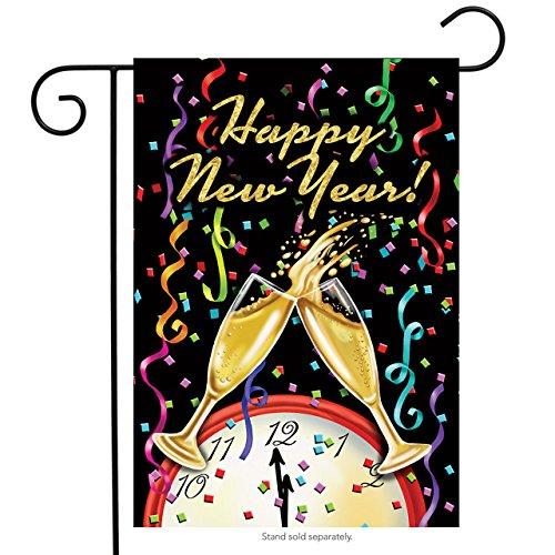 Happy New Year Garden Flag Champagne Confetti 12.5