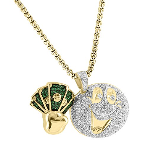 Smile Emoji Money Pendant Green White Lab Diamonds 925 Silver Gold Finish Free Chain by Master Of Bling