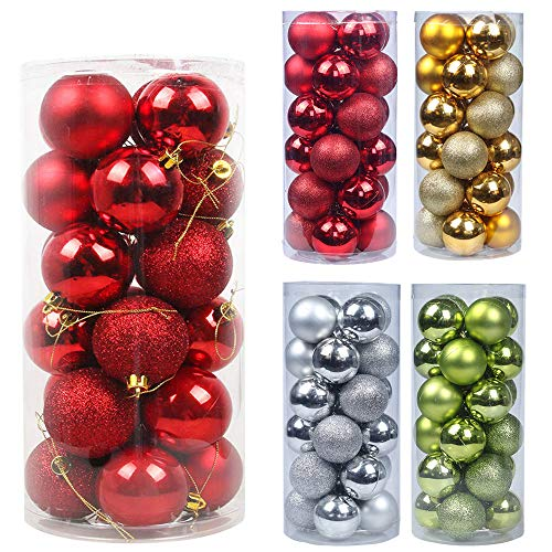 Emopeak 24Pcs Christmas Balls Ornaments for Xmas Christmas Tree - Shatterproof Christmas Tree Decorations Large Hanging Ball for Holiday Wedding Party Decoration (Red, 1.2