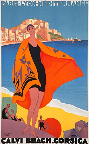 France - Calvi Beach Corsica - (artist: Broders, Roger c. 1928) - Vintage Advertisement (24x36 SIGNED Print Master Giclee Print w/Certificate of Authenticity - Wall Decor Travel Poster)