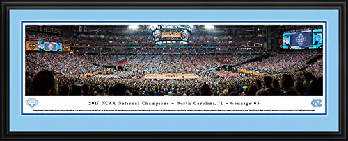 (2017 NCAA Basketball Champions - North Carolina - 44x18-inch Double Mat, Deluxe Framed Picture by Blakeway Panoramas)