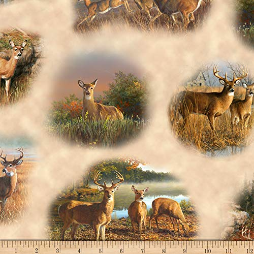 Deer Fabric - QT Fabrics Deer Valley Deer Vignettes Fabric, Cream, Fabric By The Yard