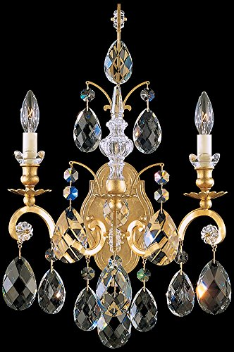 Renaissance Dark Bronze Wall - Schonbek 3761C-76 Swarovski Lighting Renaissance Wall Sconce, Heirloom Bronze