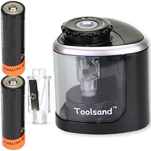 Battery Powered Pencil Sharpener - Electric Pencil Sharpener, Battery-Powered, Batteries Included, High-Speed Automatic, best for Colored and No. 2 Wood Graphite Pencils, for Home Office School Classroom Adults Kids (Black/Silver)