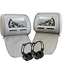 "Tablet Headrest Pillow DVD Player 7"" LCD HD Digital Screen Zipper Cover FM&IR Transmitter Game&IR Headphones(Color optional) Support 32 Bits Game Car Monitor USB port SD/MMC Card Reader Car Headrest(Gray)"