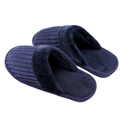 TRUEHAN Men House Indoor Slippers Winter Plush Soft Warm Lightweight Velvet Home Shoes (Tag Size 44 / UK9 10 D(M) US, Blue) by TRUEHAN (Image #2)