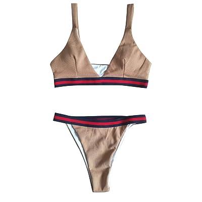 ACEBABY Bikini Sexy para Mujer Beach Print Split Push up Traje de Baño Floral de Verano Bikini para Mujer Conjunto de Ropa de Playa Informal Dama Traje de Baño Mujer Traje de baño brasileño: Ropa y accesorios