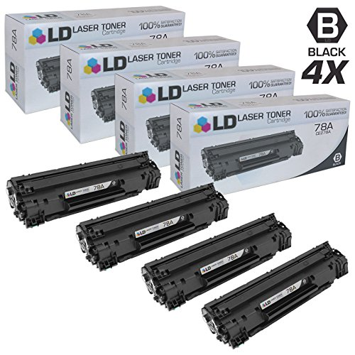 LD © Compatible Replacement Laser Toner Cartridges for Hewlett Packard CE278A (HP 78A) Black (4 Pack) for use in HP Laserjet P1566, Pro M1536dnf, and P1606dn Printers