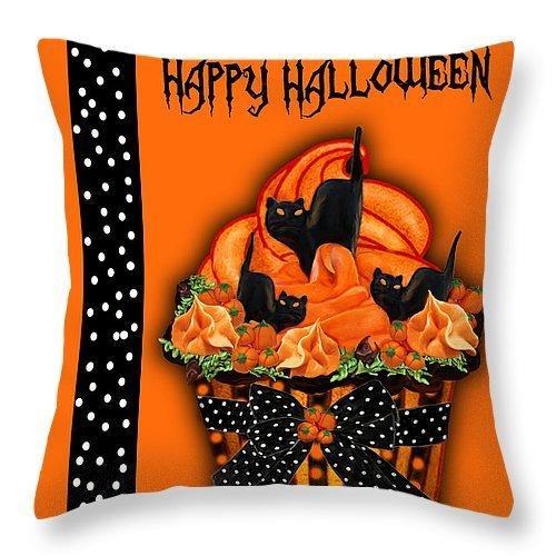 Awesome Halloween Black Cat Cupcake Zippler Pillow Case 20x20(Two (Black Cat Halloween Cakes)