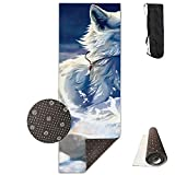 Running Huskies in The Snow Yoga Mat All-Purpose Premium Print, Non Slip Exercise Fitness for All Types of Yoga, Pilates & Floor Exercises