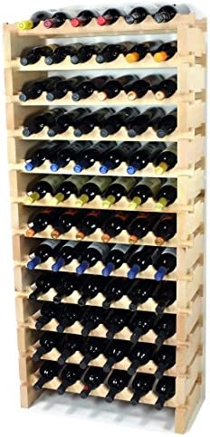 Modular Wine Rack Beechwood 24-72 Bottle Capacity 6 Bottles Across up to 12 Rows Newest Improved Model 72 Bottle