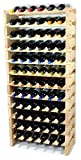 Modular Wine Rack Beechwood 24-72 Bottle Capacity 6 Bottles Across up to 12 Rows Newest Improved Model (72 Bottles - 12 Rows)