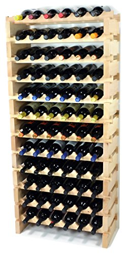 Modular Wine Rack Pine Wood 24-72 Bottle Capacity Storage 6 Bottles Across up to ...