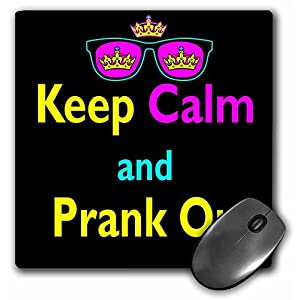 3Drose LLC 8 X 8 X 0.25 Inches Mouse Pad, Cmyk Keep Calm Parody Hipster Crown and Sunglasses Keep Calm and Prank on (Mp_116766_1)
