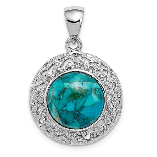 925 Sterling Silver Reconstituted Blue Turquoise Pendant Charm Necklace Natural Stone Fine Jewelry Gifts For Women For Her