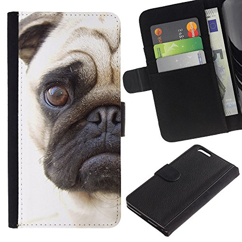 Be Good Phone Accessory // Caso del tirón Billetera de Cuero Titular de la tarjeta Carcasa Funda de Protección para Apple Iphone 6 PLUS 5.5 // Pug Sad Face Eye Shorthair Muzzle Dog