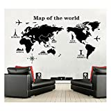 Wall Decals Map of the World Vinyl Wall Stickers Large Peel and Stick Art by Dooboe