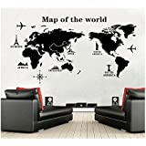 World Map Wall Decal - Vinyl Wall Art Removable Sticker - Large Peel and Stick Art Mural, Home/Office Decor by Dooboe
