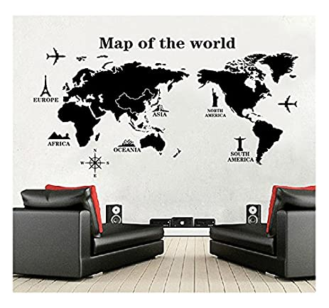 World Map Wall Decal   Vinyl Wall Art Removable Sticker   Large Peel And  Stick Art