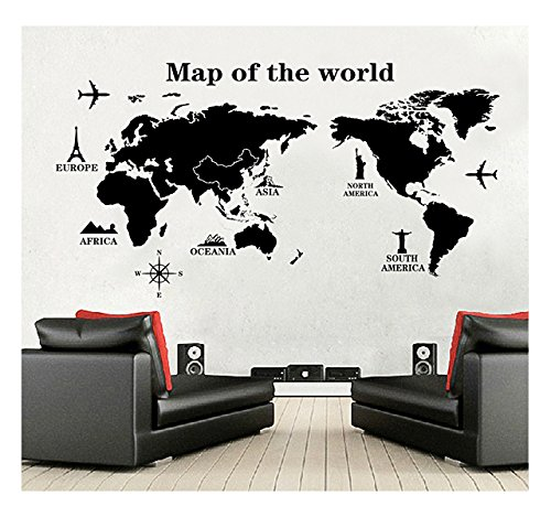 World Map Wall Decal - Vinyl Wall Art Removable Sticker - Large Peel and Stick Art Mural, Home/Office Decor by Dooboe - Map Vinyl