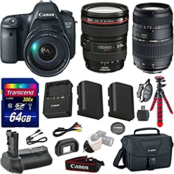 Canon EOS 6D 20.2 MP Full-Frame CMOS Digital SLR Camera Bundle with Canon EF 24-105mm f/4 L IS USM Lens + Tamron Auto Focus 70-300mm Zoom Lens + Transcend 64GB Memory Card + Canon Deluxe Case