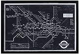 """Modelo blanco y negro del metro de Londres, cuadro negro, 17 """"x 12"""""""