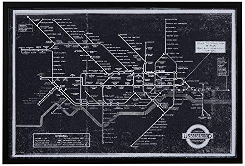 Black and White Blueprint of London Underground, Black Frame, 26