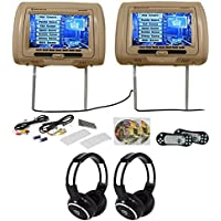 Rockville RTSVD961-BG 9 Beige Touchscreen DVD/HDMI Headrest Monitors+Headphones